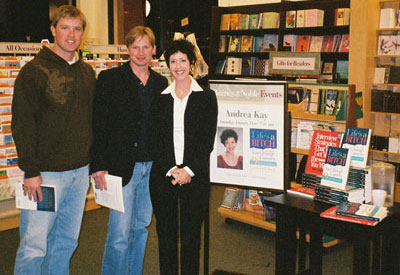 Andrea talks with a career changer after a presentation at Joseph Beth Booksellers in Cincinnati.